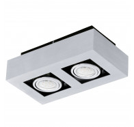 Eglo Loke 1 LED 2 Lights Brushed Aluminium Gimble Surface Mounted Ceiling Lights
