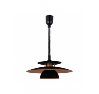 Eglo Brenda 1 Light Pull Down Black & Copper Pendant Light