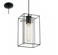 Eglo Loncino 1 Light Glass Pendant Light Black
