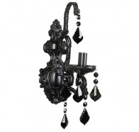 V & M Venice 1 Light Wall Bracket Black Crystal