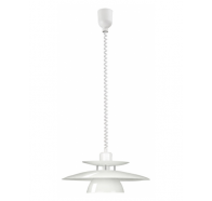 Eglo 87055 Brenda 1 Light Large Pull Down White Chrome Pendant