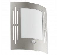 Eglo City Vertical Slits Stainless Steel Exterior Wall Light With Sensor