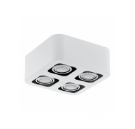 Eglo Toreno LED 4 Light White & Chrome Gimble Surface Mounted Ceiling Light
