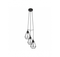 Eglo Tarbes 3 Light Cluster Black Cage Pendant Light