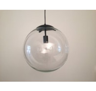 Fiorentino Catino 1L Clear Glass Pendant Black Suspension