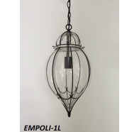 Fiorentino Empoli 1 Light Black Pendant With Clear Glass
