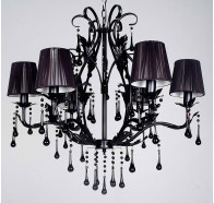 V & M Florence 6 Light Black Crystal Pendant