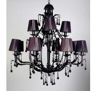 V & M Florence 8+4 Light Black Crystal Pendant
