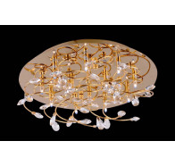 V & M Katie Round Flush Mount Crystal 40cm Gold Pendant Light
