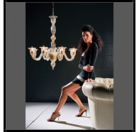 Fiorentino Laguna 6 Light Gold Up Murano Glass Chandelier