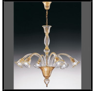 Fiorentino Laguna 6 Light Gold Down Murano Glass Chandelier