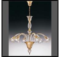 Fiorentino Laguna 6 Light Gold Down Murano Glass Chandelier