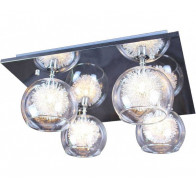 V & M Meteor Flush Mount 4 Light Glass