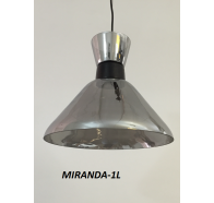 Fiorentino Miranda 1 Light Black And Smoke Glass Pendant