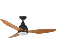 "Martec Vantage DC Matt Black 1300mm 52"" with 3 Bamboo Colour Blades Ceiling Fan with 20W Dimmable CCT LED Light & Remote"