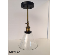 Fiorentino Satry 1 Light Black And Bronze Aluminium Pendant With Clear Glass