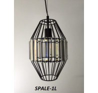 Fiorentino Spale 1 Light Black Pendant With Crystal Drops