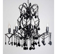 V & M Venice Clear Crystal Pendant Chandelier Black