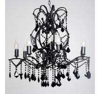 V & M Venice 8+1 Light Clear Crystal Pendant Chandelier Black