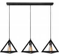 V & M Equator Vintage 3 Lights Black Triangle Pendant