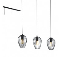 Eglo Newtown 3 Light Bar Black Metal Cage Pendant Light