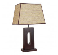 V & M Wabi Timber Table Lamp Rattan Shade