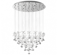 Eglo Pianopoli LED 43 Light Round Chrome Crystal Pendant Lights