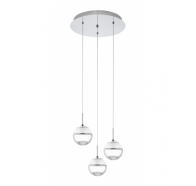 Eglo Montefio 1 LED 3 Light Round Chrome & Clear Glass Pendant Light