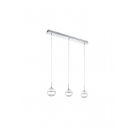 Eglo Montefio 1 LED 3 Light Bar Chrome & Clear Glass Pendant Light