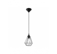 Eglo Tarbes Small 1 Light Black Cage Pendant Light