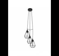Eglo Tarbes 3 Light Cluster Black Cage Pendant Light