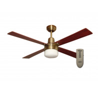 "Martec Alpha Antique Brass 1200mm 48"" Ceiling Fan with Clipper Light & Remote"