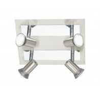 Eglo Rottelo LED 4 Light Chrome & Brushed Nickel Square Plate Spotlight