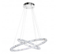 Eglo Toneria 64W Chrome & Crystal Double Ring LED Pendant Light