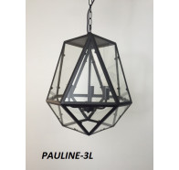 Fiorentino Pauline 3 Light Black Pendant With Clear Glass