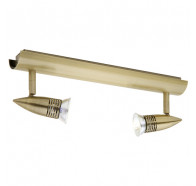 Cougar Proton 12V Antique Brass 2 Light Rail Spotlights