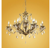 16 Light Bronze Crystal Chandelier
