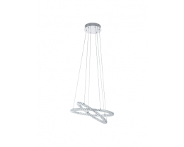 Eglo Varazzo LED Twin Ring Chrome & Crystal Pendant Lights