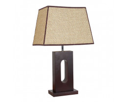 V & M Wabi Timber Table Lamp Rattan Shade