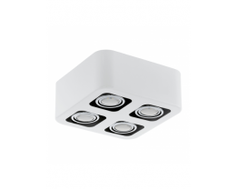 Eglo Toreno LED 4 Light White & Chrome Gimble Surface Mounted Ceiling Light