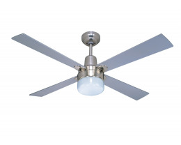 """Martec Alpha Brushed Nickel 1200mm 48"""" Ceiling Fan with Clipper Light"""