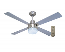 """Martec Alpha Brushed Nickel 1200mm 48"""" Ceiling Fan with Clipper Light & Remote"""