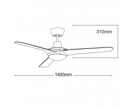 """Martec Coolmaster Cruise 56"""" (1400mm) ABS Ceiling Fan Only"""