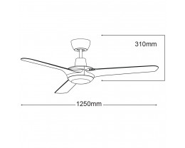 """Martec Coolmaster Cruise 50"""" (1250mm) ABS Ceiling Fan with 15W CCT LED Light"""
