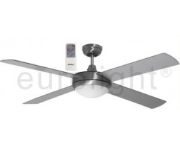 "Martec Lifestyle 52"" 1300mm Brushed Aluminium Ceiling Fan with Halogen Light & LCD Remote"