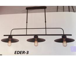 Fiorentino Eder 3 Light Black Frame Pendant