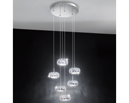 Eglo Corliano LED Chrome & Crystal 6 Round Light Pendant Light