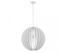 Eglo Cossano Round Medium Steel & White Wood 1 Light Pendant Light
