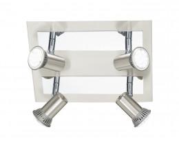 Eglo Rottelo LED 4 Light Chrome & Brushed Nickel Square Plate Spotlight