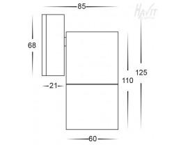 Havit HV1127 GU10 240v Black Poly Single Fixed Wall Pillar Light